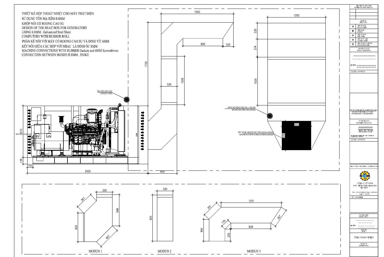 Bảng vẽ hộp thoát nhiệt chomáy phát điện